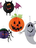 תלויים פנסים 3pc עכביש נייר צבע אקראי מסיבת תחפושות ליל כל הקדושים