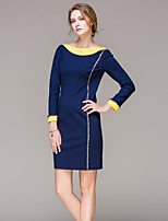 SarahdeanWomen's Going out Simple Sheath DressColor Block Boat Neck Mini Long Sleeve Winter Mid Rise Inelastic