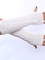 Women's Winter Wool Knitting Vertical Stripes Solid Color Gloves