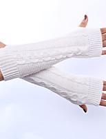 Зимняя шерсть вязание вертикальные полосы женские сплошной цвет перчатки