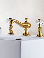 Antique Deck Mounted Widespread Ceramic Valve Two Handles Three Holes Gold Ti-PVD  Bathroom Sink Faucet
