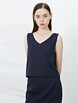 C+IMPRESS Women's Going out Sophisticated Summer Tank TopSolid V Neck Sleeveless Blue Polyester Thin / Medium