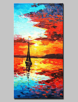 Large Hand Painted Modern Abstract Boat Seaview Oil Painting On Canvas Wall Art With Stretched Frame Ready To Hang