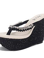 Women's Slippers & Flip-Flops Summer Flip Flops / Open Toe Microfibre Casual Wedge Heel Others Black / Almond Others