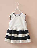 Girl's Casual/Daily Striped DressCotton Summer White