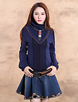 Our Story Going out Vintage Regular PulloverSolid Blue Turtleneck Long Sleeve Wool / Cotton Spring
