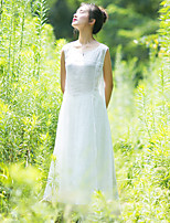 Ramie Cotton Women's Casual/Daily Simple Loose DressSolid Round Neck Maxi Sleeveless White Linen Summer