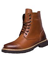 Men's Boots Fall / Winter Comfort Cowhide Casual Flat Heel  Black / Brown / Yellow Sneaker