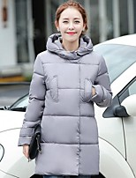 Women's Solid Blue / White / Black / Gray Padded Coat,Street chic Hooded Long Sleeve