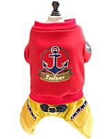 katten / honden Jassen / Hoodies / T-shirt / Jumpsuits Rood / Grijs Hondenkleding Winter / Lente/HerfstEffen / Watersport / Letter &