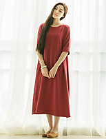 Ramie Cotton Women's Going out Vintage Loose DressSolid Round Neck Midi  Length Sleeve Red Others All Seasons Mid Rise
