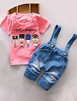 Boy's Casual/Daily Print Jeans / Clothing SetCotton Summer Blue / Green / Pink / Yellow