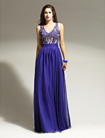Formal Evening Dress A-line Straps Floor-length Chiffon / Lace with Appliques / Beading