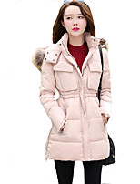 Women's Solid Thick Slim Fur Collar Plus Size Coat Simple / Street chic Hooded Long Sleeve