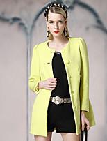 Veste Femme,Couleur Pleine Sortie simple Manches Longues Col Arrondi Orange / Jaune Laine / Polyester Moyen Hiver