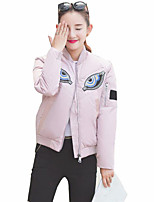 Women's Embroidered Pink / Black / Gray Padded Coat,Street chic Crew Neck Long Sleeve