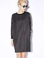 NEW BEFORE  Women's Going out Street chic Loose DressStriped Round Neck Above Knee Long Sleeve Black