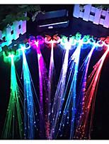 Hallowmas  Luminous Braid 7 Colour Glow Fiber Braid Hair Wigs Bar KTV Party 32CM