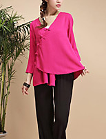 Cynthia Women's Casual/Daily Chinoiserie Spring / Fall ShirtSolid V Neck  Sleeve Pink Cotton / Linen Thin