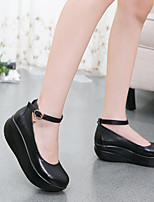 Черный-Женский-На каждый день-Кожа-На танкетке-Пинетки-Обувь на каблуках