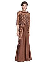 Lanting Bride®Sheath / Column Mother of the Bride Dress Floor-length 3/4 Length Sleeve Lace / Stretch Satin with Beading / Lace / Side Draping