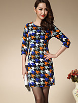 Boutique S Women's Plus Size / Going out / Casual/Daily Vintage Shift Dress Houndstooth Above Knee Sleeve Fall