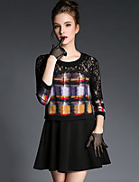 Women's Going out / Holiday Street chic / Sophisticated Loose DressSolid Round Neck Mini  Sleeve