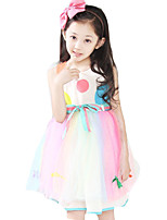 Girl's Casual/Daily Rainbow DressCotton Summer Pink