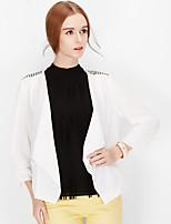 NAKED ZEBRA Women's U neck Long Sleeve T Shirt Black / White-QJ70021