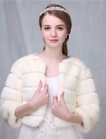 Women's Wrap Shrugs 3/4-Length Sleeve Faux Fur Ivory / Ruby Wedding / Party/Evening Scoop 41cm Criss-Cross Open Front