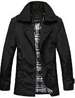 Men's Long Sleeve Casual / Work / Formal JacketPolyester / Spandex Solid Black / Brown