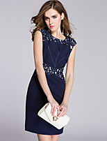 Boutique S Women's Plus Size Sophisticated Sheath DressEmbroidered Sleeveless Polyester Mid Rise Micro-elastic