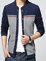 Men's Long Sleeve Casual / Work JacketCotton / Polyester / Nylon Patchwork Black / Blue / Beige 916364