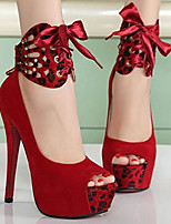 Women's Sandals Summer Peep Toe PU Casual Stiletto Heel Bowknot Black / Red Others
