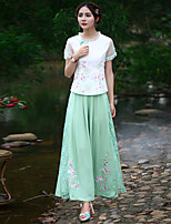Our Story Women's Embroidered Green Wide Leg PantsChinoiserie Spring / Fall