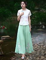 De las mujeres Pantalones Perneras anchas-Tejido Oriental Rígido-Poliéster