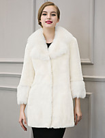 Women's Plus Size / Casual/Daily Street chic Fur CoatSolid Notch Lapel Long Sleeve Winter White / Black Faux Fur Thick