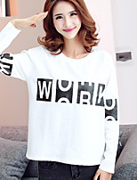 Women's Casual/Daily Simple Regular HoodiesLetter White / Black Round Neck Long Sleeve Cotton Fall