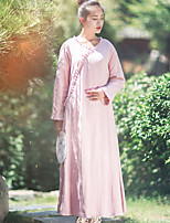 Ramie Cotton Women's Holiday Chinoiserie Loose DressSolid V Neck Maxi Long Sleeve Pink Linen
