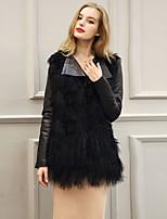 Женский На выход / На каждый день / Нарядная Однотонный Пальто с мехом V-образный вырез,Простое / Уличный стиль Зима Черный Длинный рукав,