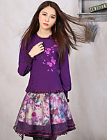 Our Story Women's Floral Purple SkirtsVintage Above Knee