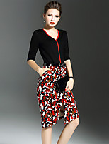 Women's Plus Size / Going out Vintage Bodycon DressCamouflage V Neck Knee-length  Sleeve Black Polyester