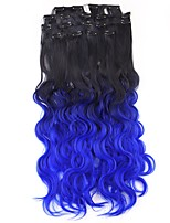 Neitsi 60cm 165g Curl Wavy Clip in on Hair Extension Ombre Blue Synthetic Hair Weft 8Pcs/Set Colour Choose