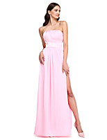 Lanting Bride®Floor-length Satin Chiffon Bridesmaid Dress - Elegant Sheath / Column Strapless with Sash / Ribbon / Split Front