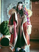 Feminino Casaco Happy-Hour Boho Inverno,Estampado Vermelho Lã / Algodão Com Capuz-Manga ¾ Grossa
