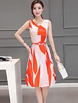 Women's Casual/Daily Simple Sheath Dress,Print V Neck Knee-length Sleeveless Red Acrylic Summer