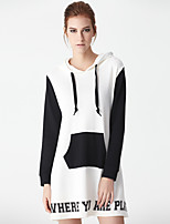 Women's Casual/Daily Simple Long HoodiesLetter White/Black Hooded Long Sleeve Cotton/Polyester Spring/Fall Medium