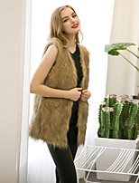 Women's Going out / Casual/Daily / Formal Simple / Street chic Fur Coat Solid Round Neck Sleeveless Winter Faux Fur