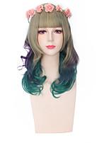 la mode des perruques de couleur verte mélangée sans colle perruques synthétiques cospaly
