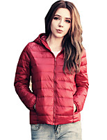 Women's Solid Color All Match Slim Padded Coat Simple / Street chic Hooded Long Sleeve